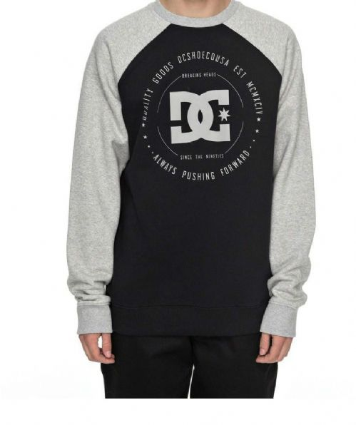 DC SHOES MENS CREW.REBUILT 2 RAGLAN BLACK GREY SWEAT TOP JUMPER TOP 7W 3122 KVJO